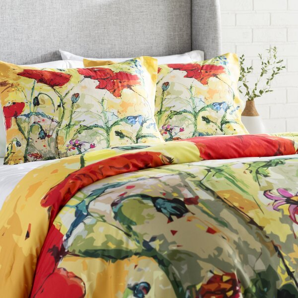 Poppies Provence Comforter Set by East Urban Home