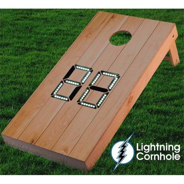 Electronic Scoring Wood Plank Cornhole Board by Lightning Cornhole