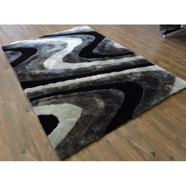 Living Shag Hand-Tufted Gray Area Rug by Rug Factory Plus