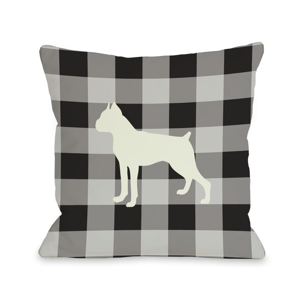 Doggy Décor Gingham Silhouette Boxer Throw Pillow by One Bella Casa