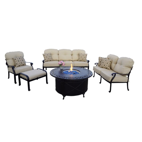 Burdine 5-Piece Fire Pit Deep Multiple Chairs Seating Group Set with Cushions and Pillows by Canora Grey