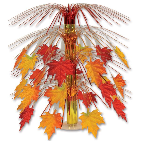 Fall/Thanksgiving Fabric Leave Cascade Centerpiece by The Holiday Aisle