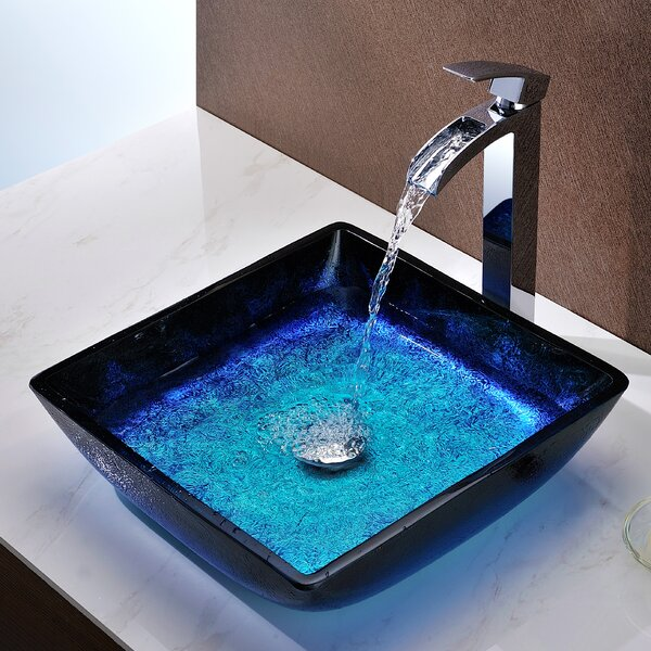 Viace Glass Square Vessel Bathroom Sink By Anzzi.