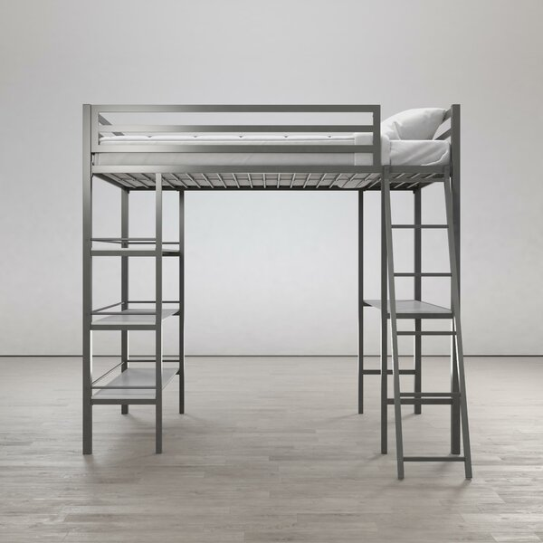 Nova Metal Twin Loft Bed with Shelves by Little Seeds