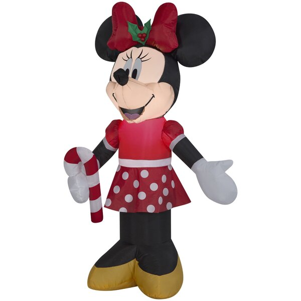 Disney Minnie Holding Candy Cane Inflatable by The Holiday Aisle