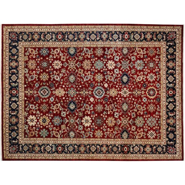 Badham Hand-Knotted Rectangle Wool Red/Blue Area Rug by Bloomsbury Market