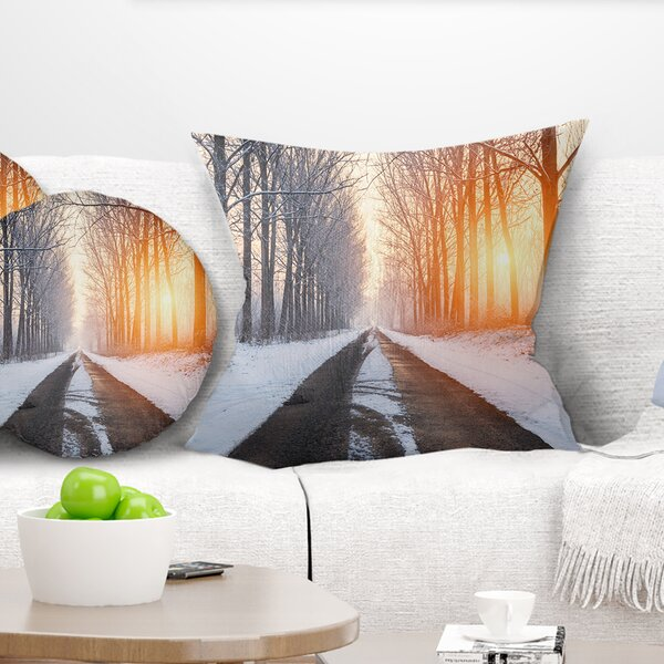 Bright Sun Break in Winter Forest Pillow by East Urban Home