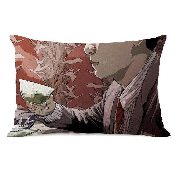 Man with Tea Lumbar Pillow by One Bella Casa
