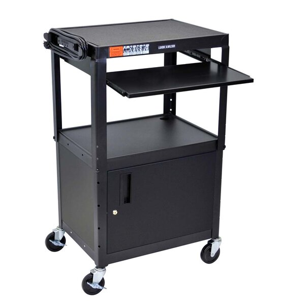 Adjustable Height Metal AV Cart with Pullout Keyboard Tray and Cabinet by Offex