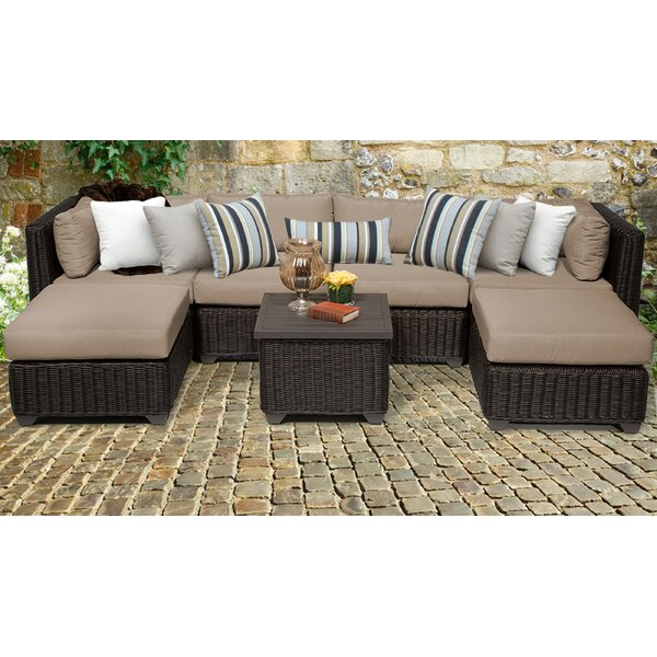 Fairfield 7 Piece Rattan Sectional Seating Group with Cushions by Sol 72 Outdoor