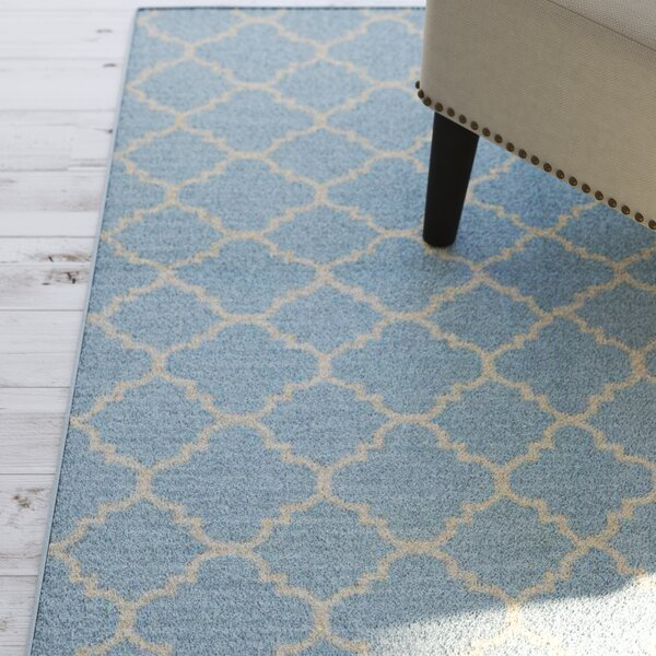 Danbury Hand-Woven Wool Light Blue/Ivory Area Rug by Three Posts