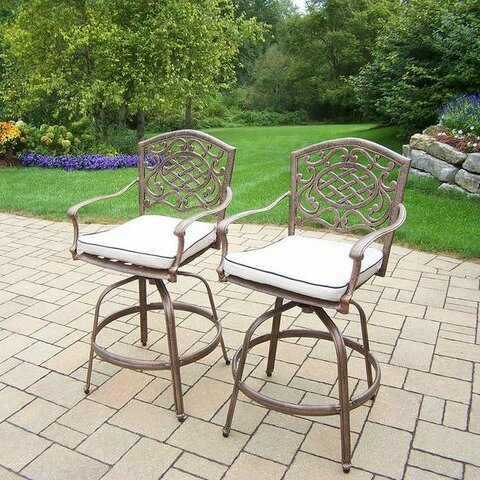Mississippi 27 Patio Bar Stool with Cushion (Set of 2) by Oakland Living