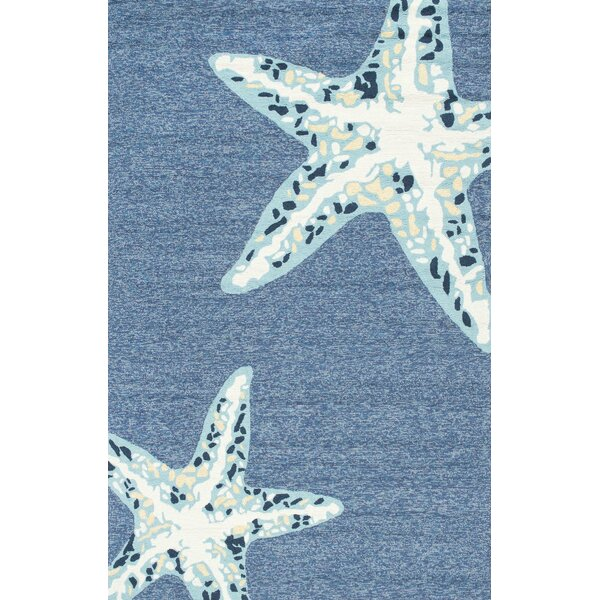 Palmers Jonah Hand-Hooked Light Blue Indoor/Outdoor Area Rug by Beachcrest Home