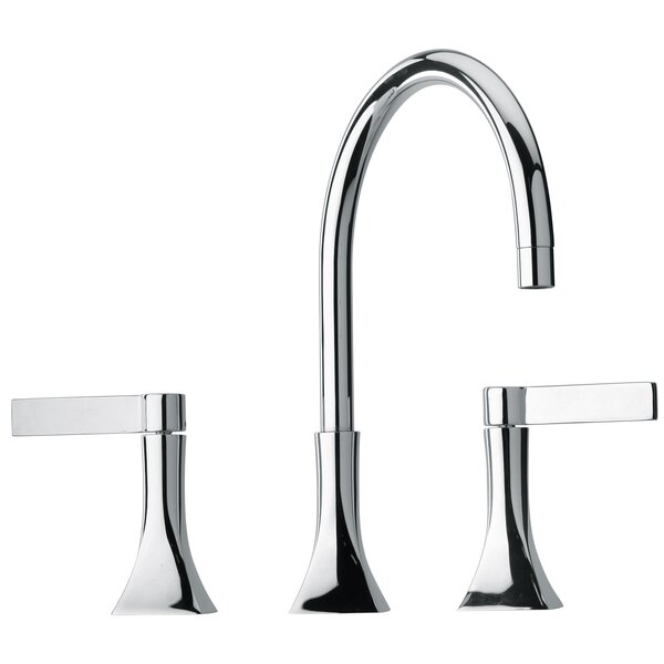 J17 Bath Series Two Blade Handle Widespread Bathroom Faucet with Goose Neck Spout by Jewel Faucets