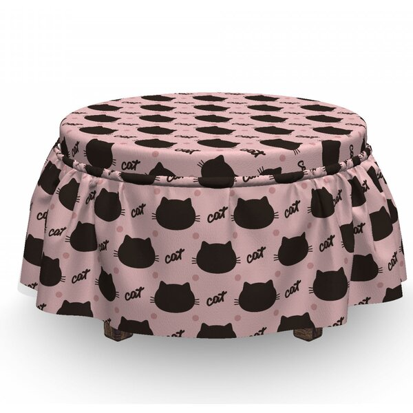 Cat Head Silhouettes Dots Girly 2 Piece Box Cushion Ottoman Slipcover Set By East Urban Home