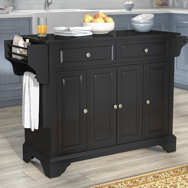 Hedon Kitchen Island with Granite Top by Three Posts