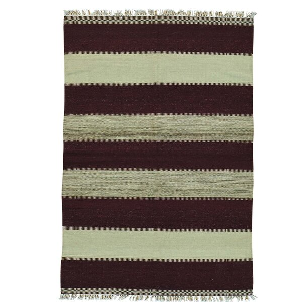 Flat Weave Striped Durie Kilim Oriental Hand-Knotted Brown Area Rug by Bloomsbury Market