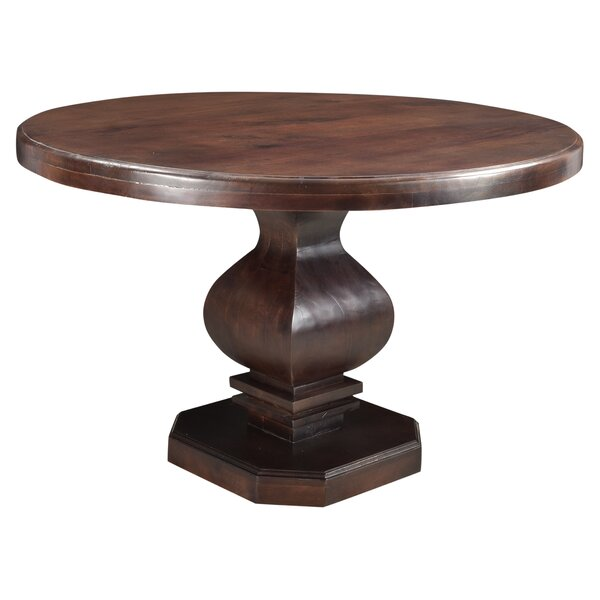 Maliyah Pedestal Solid Wood Dining Table by Longshore Tides