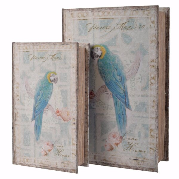 Livinia Parrot Bird Book 2 Piece Decorative Box Set (Set of 2) by World Menagerie