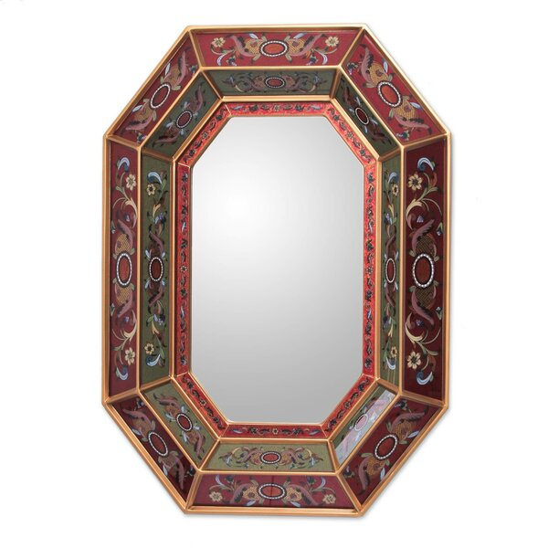 Unique Reverse Painted Glass Wall Mirror by Novica