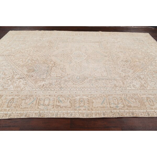One-of-a-Kind Hand-Knotted 1940s Heriz Beige 9'7'' x 13' Wool Area Rug