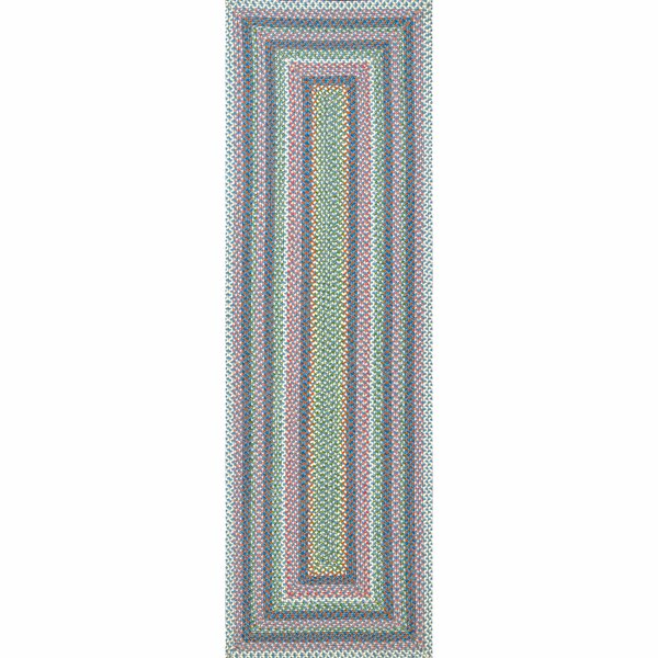 Minster Striped Braided Pink/Green Indoor / Outdoor Area Rug