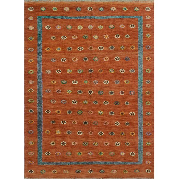 Creola Hand-Knotted Wool Orange Area Rug by Bungalow Rose