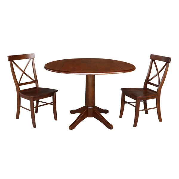 Atoll Round Top 3 Piece Drop Leaf Solid Wood Dining Set by Alcott Hill
