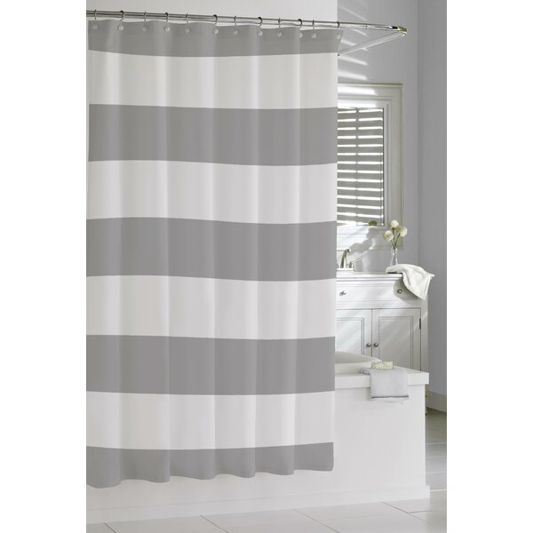 Prospero Stripes Cotton Shower Curtain by Rosecliff Heights