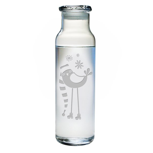 Snowbird 24 oz. Glass Water Bottle With Lid by The Holiday Aisle