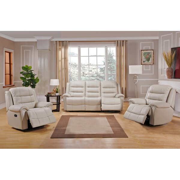 Shantell Reclining 3 Piece Leather Living Room Set by Red Barrel Studio