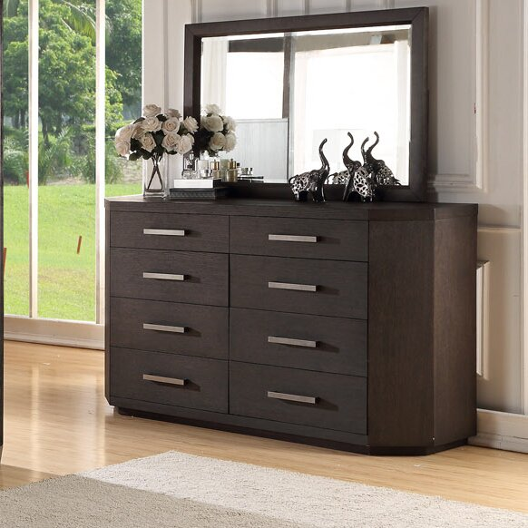 Tribeca Studio 8 Drawer Double dresser with Mirror by Fairfax Home Collections