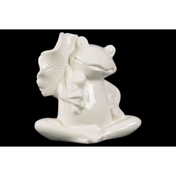 Petti Sitting Frog with a Leaf on Hand Figurine by Winston Porter
