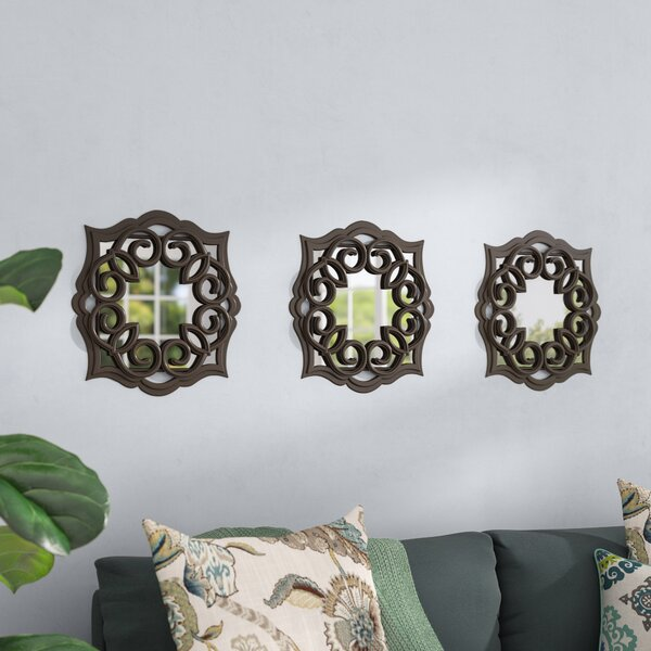 3 Piece Swirl Scroll Mirror Set (Set of 3) by Three Posts