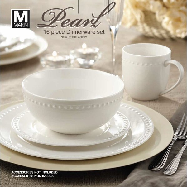 Rim Pearl 16 Piece Dinnerware Set, Service for 4 by Safdie & Co. Inc.