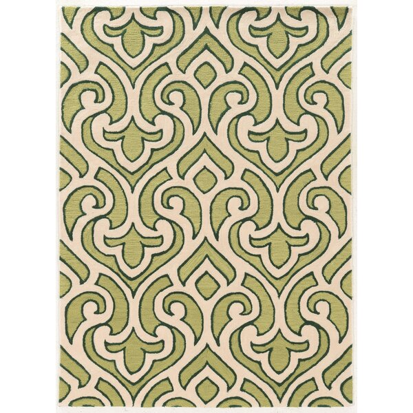 Coggins Hand-Tufted Cream/Green Area Rug by Charlton Home