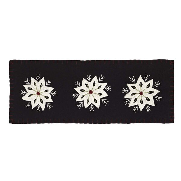 Deuxville Snowflake Felt Embroidery Runner by Loon Peak