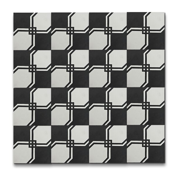 Marakech 8 x 8 Handmade Cement  Tile in Black/White by Moroccan Mosaic