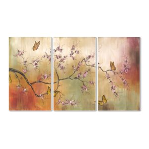 'Pink Blossoms and Butterflies Triptych' 3 Piece Painting Print Wall Plaque Set by Andover Mills