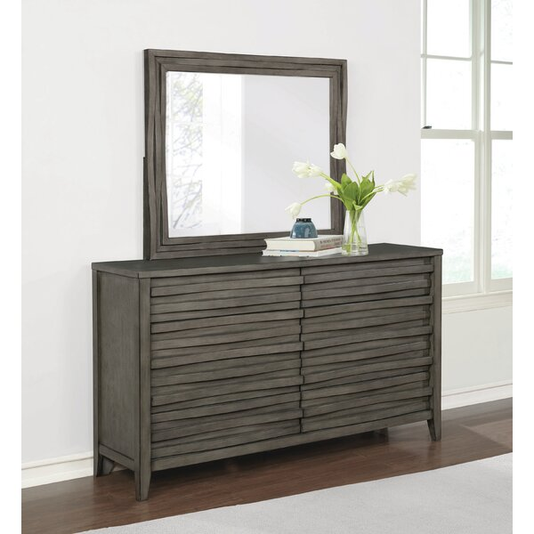 Wingard 6 Drawer Double Dresser with Mirror by Foundry Select