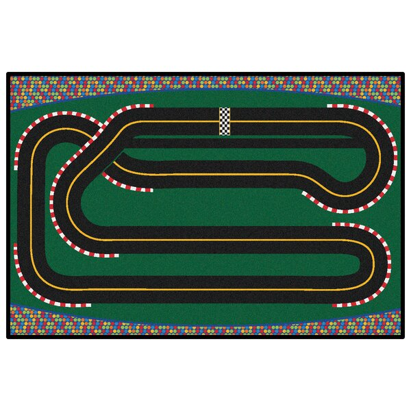 Green Super Speedway Racetrack Area Rug by Kids Value Rugs