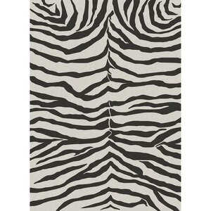 Zebra Safari Black Indoor/Outdoor Area Rug