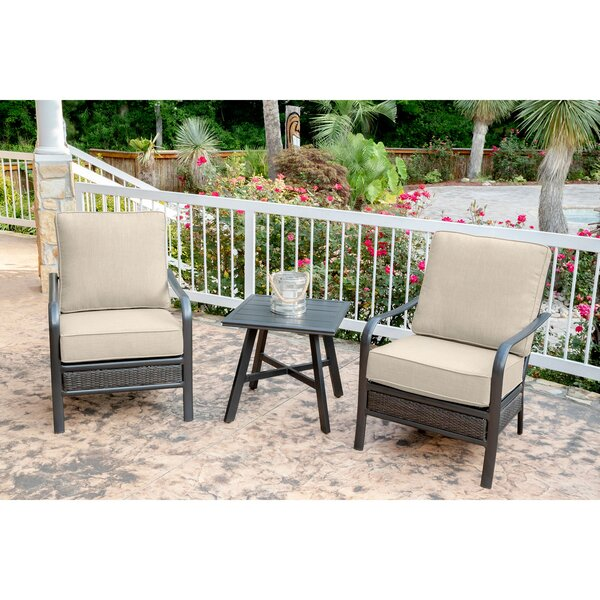 "Becerra 3-Piece Commercial-Grade Patio Set with 2 Aluminum/Woven Club Chairs and 22"" Slat-Top Side Table by Charlton Home"