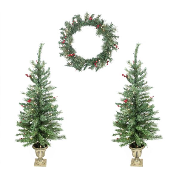 Berry Pine Artificial Christmas Trees and Wreath by LB International