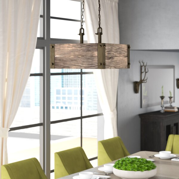 Cathey 4 - Light Shaded Square / Rectangle Chandelier by Loon Peak Loon Peak