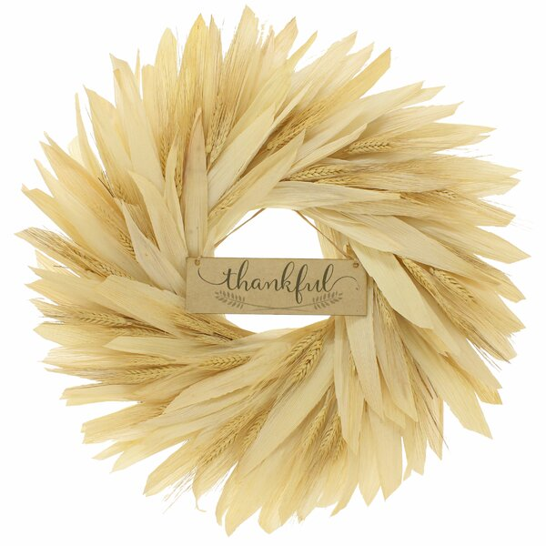 Thankful 22 Corn Husk Wreath by Gracie Oaks