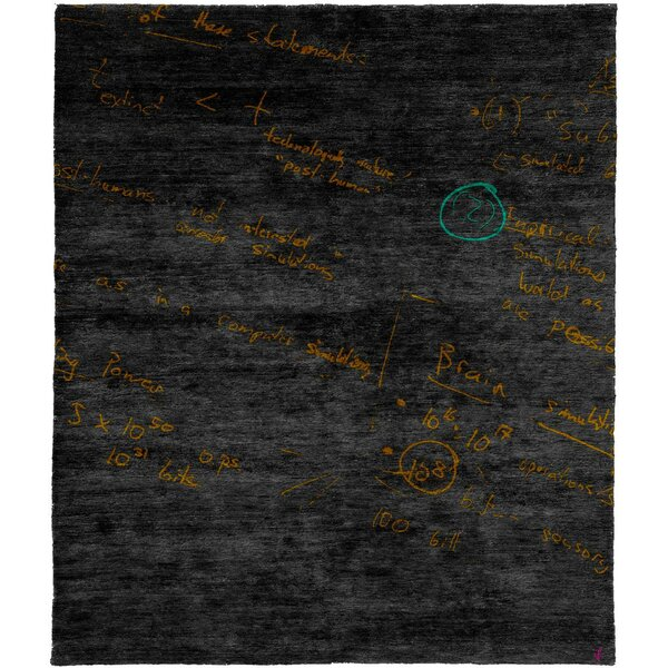 One-of-a-Kind Harpa Hand-Knotted Tibetan Charcoal 10' Square Wool Area Rug