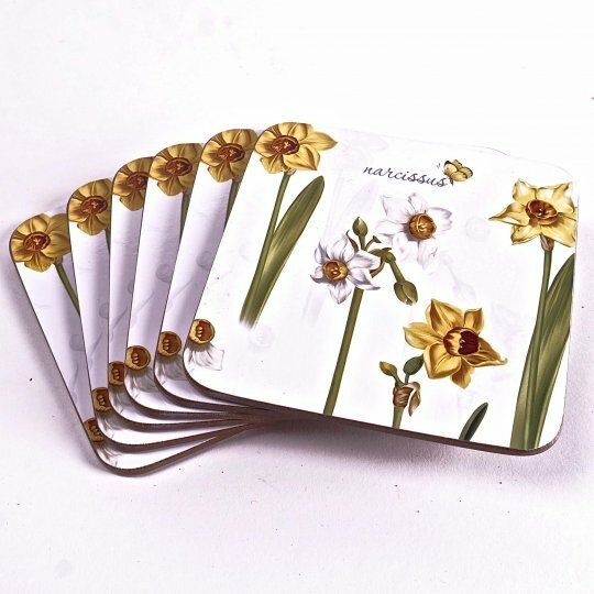 Daffodils Cork Coaster (Set of 6) by August Grove