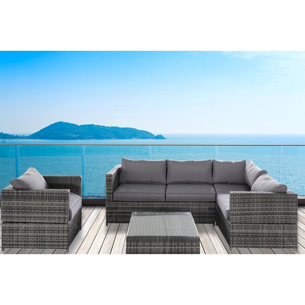 Diep Outdoor Complete 4 Piece Sectional Seating Group with Cushion by Wrought Studio