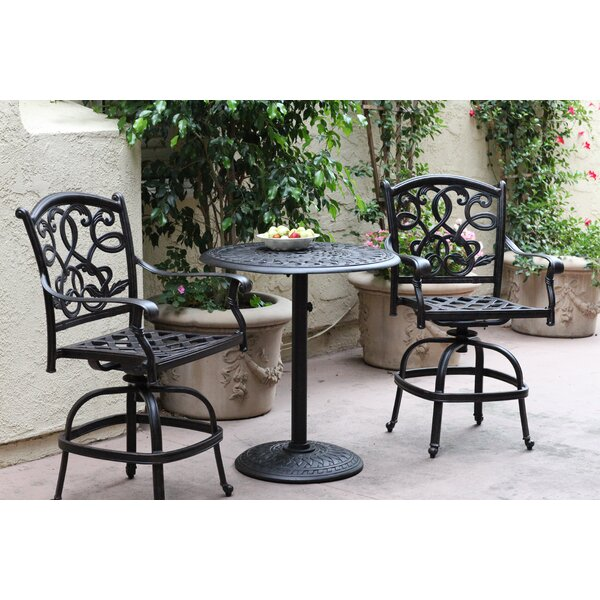 Calhoun 3 Piece Bar Height Dining Set with Cushions by Fleur De Lis Living